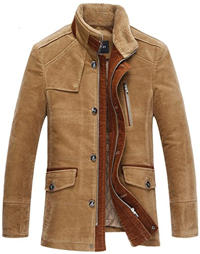 WS668 Winter Herren Warm 100% Baumwolle Winddicht Mantel Casual Stehkragen Gute Qualität Dick Jacken Mens Mens Thick Jackets Khaki