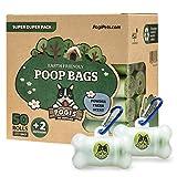 Pogi's Poop Bags - Bolsas para excremento de Perro - 50 Rollos (750 Bolsas) + 2 Dispensadores - Grandes, Biodegradables, Perfumadas, Herméticas