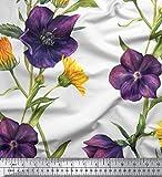 Soimoi Weiß Poly Georgette Stoff Daisy & Clematis Blumen-