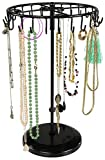 Joyas Soporte Giratorio con 24ganchos–Negro, 34x 21x 21cm–Soporte para joyas almacenamiento presentación–Tarjeta de Cheshire