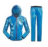 Leichte Herren\Damen Regenjacke Ultraleicht Fahrrad Regenanzug Wasserdicht(Regenhose + Regenjacke), Wasser- und Winddicht, Jacke im Set Blau 173-178cm Lable XL