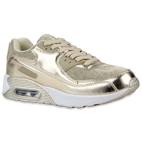 Trendige Unisex Laufschuhe | Damen Herren Kinder | Sportschuhe Metallic Glitzer | Camouflage Sneaker Bunt | Schnür Sport Turnschuhe Gold