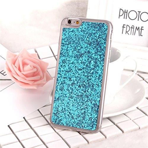 Custodia iphone 6S plus 5.5, Cover per iphone 6 plus Silicone, iphone 6S plus Glitter Cover, MoreChioce Moda Glitter Sparkle Bling bling Brillante Morbido 3d Gel TPU Silicone Gomma Cover Case Custodia C-Blu