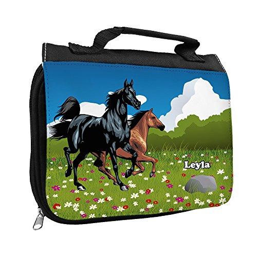 Kulturbeutel mit Namen Leyla und Pferde-Motiv für Mädchen | Kulturtasche mit Vornamen | Waschtasche für Kinder