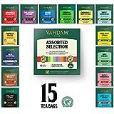 VAHDAM, Migliori assortimenti di tè | 15 diverse bustine di tè assortimenti di campionari confezione regalo Variety Pack | Meglio di tè nero, tè verde, tè Oolong, tè alle erbe e tè Chai