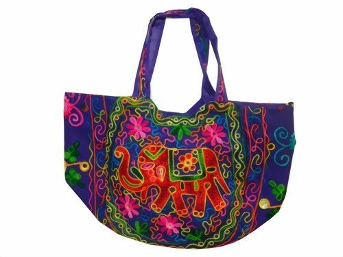 Indische Baumwolltasche violett Elefanten Stickereien Spiegel Tasche Accessoire