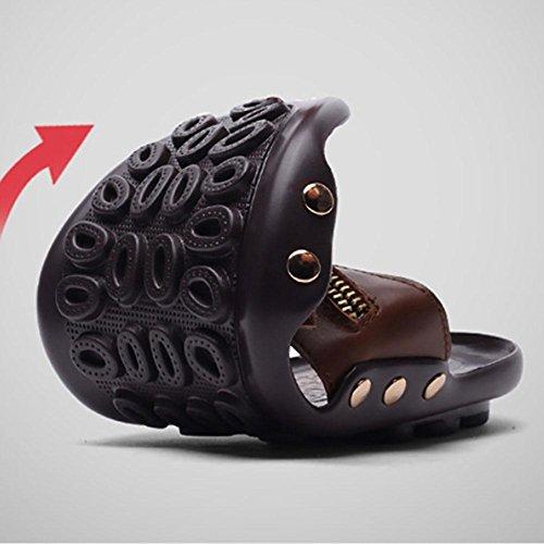 SHANGXIAN Uomini Crazy-Horse Chain di cuoio Pendenti piatti rotondi Khaki