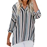 Xiantime Damen Chiffon Langarm Gestreift Mode Bluse T-Shirt Bluse Tank Top S-XL