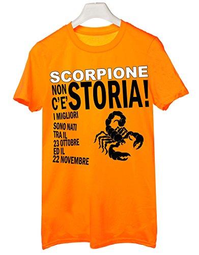 Tshirt compleanno segni zodiacali Scorpione non c'è storia i migliori sono nati tra il 23 ottobre ed il 22 novembre - Tutte le taglie Arancione
