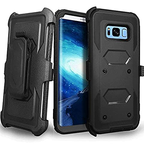 CellularOutfitter Samsung Galaxy S8 Plus Triple Protection Rugged and Holster Shell Combo Phone Case - Heavy Duty, Shock-Resistant - Black