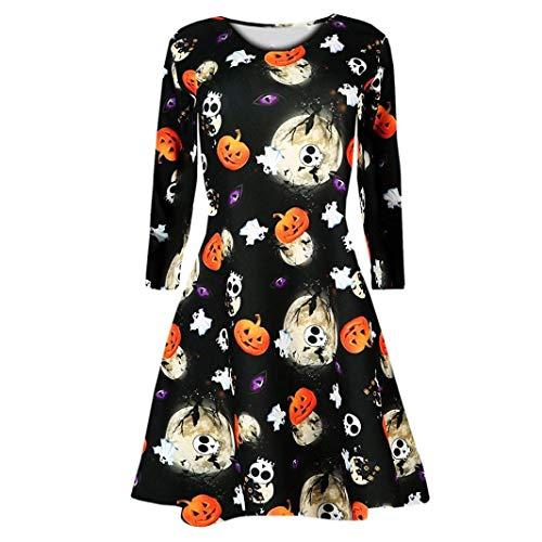 BaZhaHei de Halloween, Vestido Estampado de Calabaza de Halloween de Manga Larga para Mujer Camisetas Mujeres de Manga Larga Calabazas Calavera de Halloween por la Noche Vestido de Baile Traje Swing