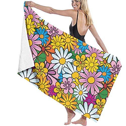 Bikofhd Bath Towel,Flower Power Travel Towels Spa Beach Towel Wrap for Girls,80x130cm -