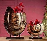 GILDE Glas Deko Vase Volute 2 Stück auf Metall ständer beige/braun/schwarz/Gold L = 10 x B = 27 x H = 39 cm