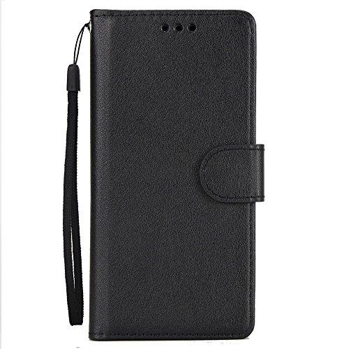 Classic Premiu PU Ledertasche, Horizontale Flip Stand Case Cover mit Cash & Card Slots & Lanyard & Soft TPU Interio Rückseite für Sony Xperia XA1 ( Color : Rosegold ) Black