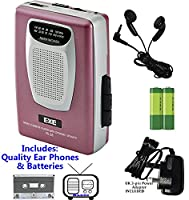 Retro Portable Personal Cassette Tape Player & Radio - inc Earphones �?? Built-In Speaker - inc Batteries (Exe VS-38 Package) (Pink (Inc Batteries & Power Adapter))