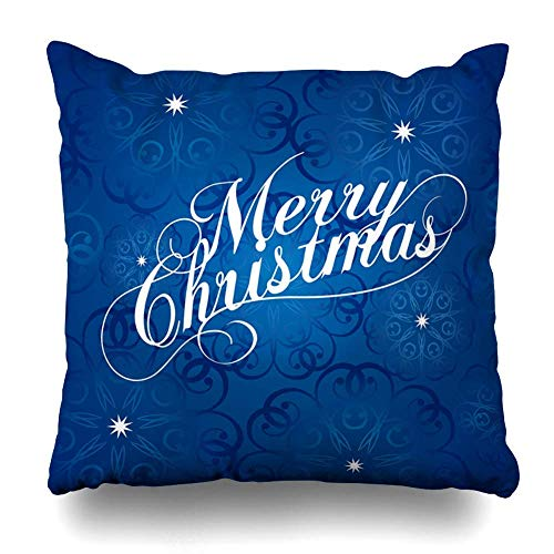 Throw Pillows Covers Writing Text Merry Christmas Holidays Vintage Letter Classic Title Lettering Graphic Design Home Decor Pillowcase Square Size 18 x 18 Inches Cushion Case (Halloween Vintage Holiday Graphics)
