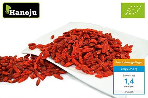 Hanoju Goji Beeren aus ökologischem Anbau, Bio-zertifiziert, 1er Pack (1 x 1 kg) (Provinz-creme)