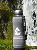 NEW 2016 Eco Stainless filter water bottle 750ml/ 1600 litre with 'Storm Grey' insulator protector