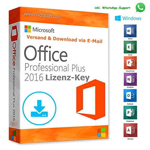 MS Office 2016 Professional Plus LIZENZ KEY - vorab E-Mail Versand (24 Std.) & Postbrief - 32 / 64 Bit - 1 Aktivierung / 1 PC + Anleitung von U-S-B Unleashed-Shop-Bolt®