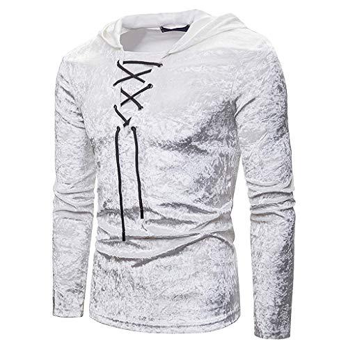 Fascino-M Shirt Slim Fit Camicia Uomo Elegante Maniche Lunghe Casual Felpa con Cappuccio