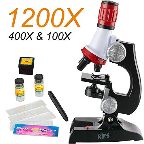 melysEU Kids Student Beginner Microscope con LED 100X 400X 450X 1200X, microscopio Stem de Nivel básico con Kit de Accesorios e iluminación LED Doble (1 Sistema)