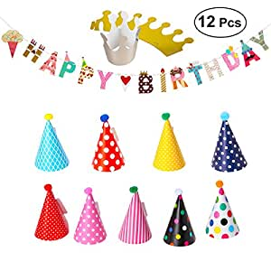 LUOEM Happy Birthday Banner Party Hats Polka Dot DIY Cute Handmade Cap Hat