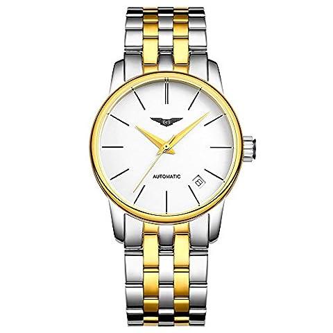 guanqin beliebten Marke Modische Analog Damen Armbanduhr Automatik Mechanische Automatik Wasserdicht Kalender Edelstahl Band Armbanduhr Einzigartiges Design Silber Gold Weiß