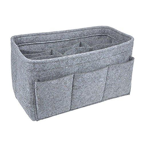 APSOONSELL Bag in Bag Handtaschen Organizer Filz, Taschen Organisator für Handtaschen, Innentaschen für Handtaschen, Hellgrau - Klein