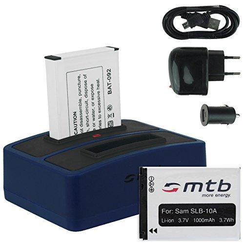 2x batteria + caricabatteria doppio (usb/auto/corrente) per samsung slb-10a / toshiba camileo x-sports / jvc adixxion / silvercrest / medion action cam.. v. lista