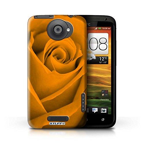 Kobalt® Imprimé Etui / Coque pour HTC One X / Vert conception / Série Rose Orange