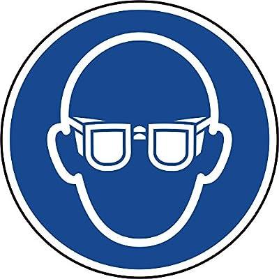 Gebotszeichen - Augenschutz tragen - Ø 20 mm - 216 Gebotsschilder aus Polypropylen Folie, blau/weiß, permanent haftend