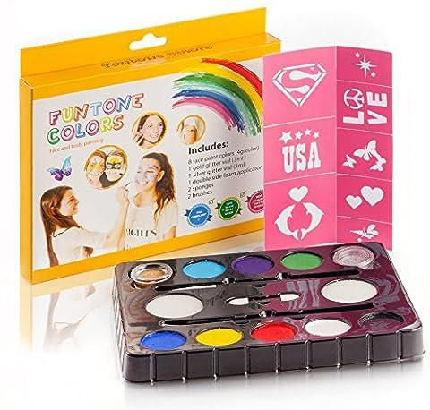 Maquillage Enfant Kit de peinture de visage. 40 Pochoirs gratuit