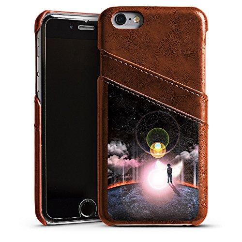 Apple iPhone 5s Housse Étui Protection Coque Galaxie Galaxie Nuages Étui en cuir marron