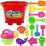 Elecenty 14pcs Sandspielzeug Strandspielzeug Strand-Werkzeug-Set Strandtasche Kindergeburtstag Kinderspielzeug Wasserspielzeug Gießkanne Schaufel Eimer (14Pcs, zufällige Farbe)