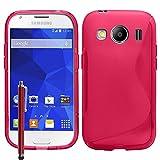 VCOMP Custodia Astuccio Cover Morbida Silicone Gel, Motivo: S-Line per Samsung Galaxy Ace 4Stile LTE SM-G357FZ