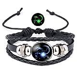 12 Sternzeichen Armband Lederarmband Frauen Herren Nachtleuchtender Anhänger Glas Cabochon Silber Armbänder Kette Verstellbare (Steinbock)