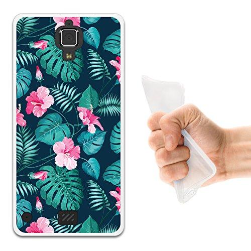 WoowCase Hisense C20 King Kong II 4G Hülle, Handyhülle Silikon für [ Hisense C20 King Kong II 4G ] Tropische Blumen 2 Handytasche Handy Cover Case Schutzhülle Flexible TPU - Transparent