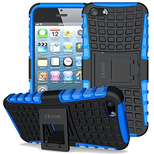 ykooe iPhone 5s Fall, stabileren stoßfest iPhone 5 Schutz Fall iPhone SE Dual Layer Schutzhülle Ständer Shell für iPhone 5 5S SE, iPhone 5, iPhone 5 Blau - Fälle Iphone 5s Otterbox