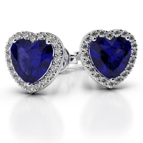 Or blanc 18carats 0,32CT G-H/VS sertie de diamants en forme de cœur Saphir et boucles d'oreilles Ager-1065