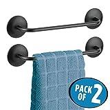 mDesign Geschirrhandtuchhalter – Handtuchhalter selbstklebend auf fast allen glatten Oberflächen – ohne Bohren – auch als Badetuchhalter geeignet – mattschwarz - 2er-Set