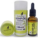 High Strength Hemp Oil Drops - 100% Pure & Natural - Vegan Source of Omega 3 - Made from Certified EU Hemp by NutriZing - for Your Mind & Body