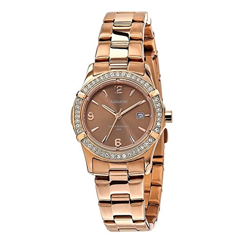 Accurist – LB1543 – Women's Wristwatch, Stainless Steel Strap – Rose Gold