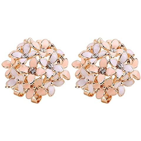 Sanwood Women Flower Ear Ear Stud Earrings (Pink)