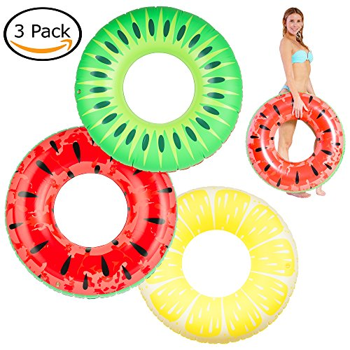 Kompanion 3 Stück aufblasbare Pool Schwimmringe in sommerlichen Frucht-Designs, Kiwi, Zitrone und Wassermelone, 90 cm, mit der langlebigen Aufbewahrungstasche