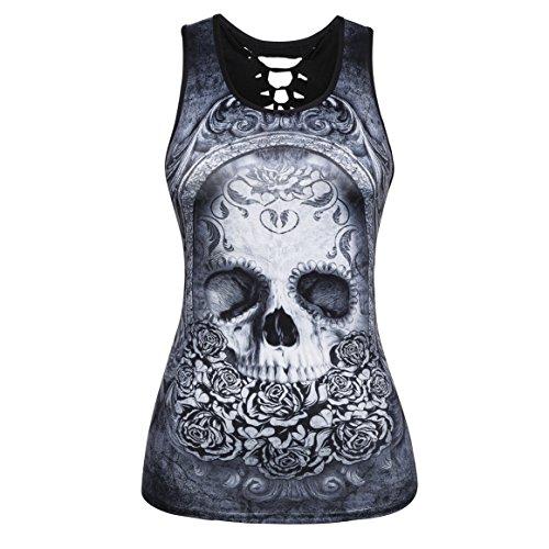 Mxssi Donna Summer Summer Casual Casual Skulls Stampato Rock Punk Vest Tee Top Tshirt 15