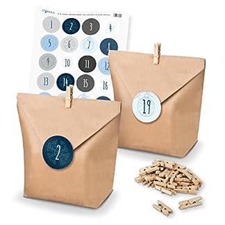 itenga – Set de calendario de Adviento para rellenar uno mismo, con bolsas para regalos + pinzas + pegatinas (números del calendario de Adviento) Motiv Z12 Blautöne Schlicht