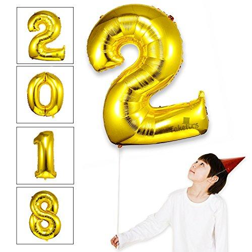 Takefuns Globos de la Letra del Número Gigante DE 40 Pulgadas Globo de Mylar de la Hoja de Helio para Las Decoraciones de la Fiesta de Cumpleaños de la Boda, Plata Brillante, Número 2