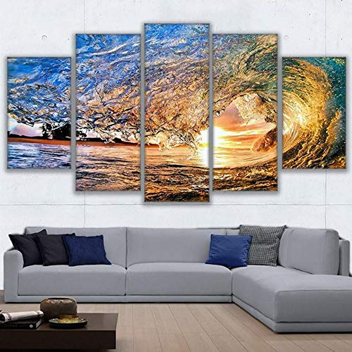 mmwin Toile Photos Salon Décor HD Impressions Travail 5 Pièces Wave Tunnel Affiches Mur Art Coucher du Soleil Mer Vague Paysage Marin Impressions