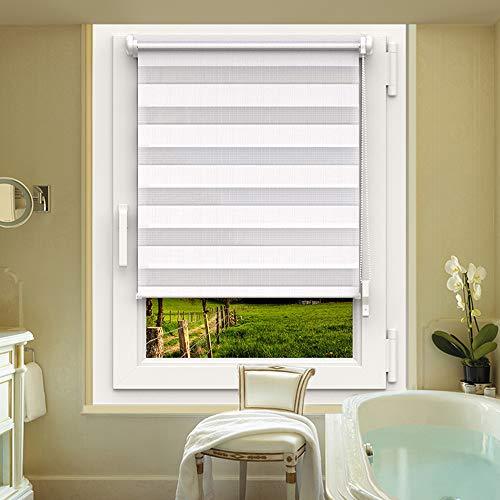 OBdeco Doppelrollo Duo Rollo Klemmfix ohne Bohren B65cm x H150cm(Stoffbreite 61 cm) Weiß für Fenster lichtdurchlässig und verdunkelnd