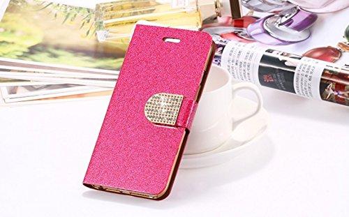 iPhone 6 6s Glitzer Handy Hülle Schutzhülle Tasche Strass Flip Klappbar Wallet Case Cover Brieftasche mit Kartenfach Buch Etui und Standfunktion in Gold Rot